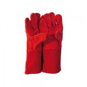 Red lined deluxe welding gauntlet-Single
