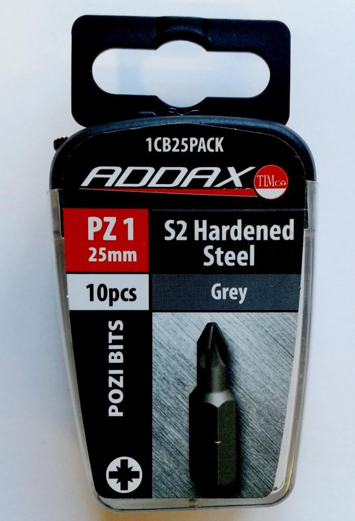 PZ1 x 25mm Pozi Bits S2 Hardened Steel Addax TIMco