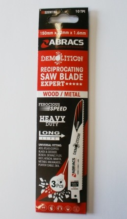 Abracs Demolition Reciprocating Saw Blades 150mm For Wood & Metal RBSDEM150 Expert Range