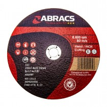 """Extra Thin INOX Cutting Disc 9"""" Abracs 230 x 1.8 x 22mm (Abrasives)"""